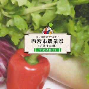 11月2日(土) 西宮市農業祭 開催! とれとれ野菜の即売会